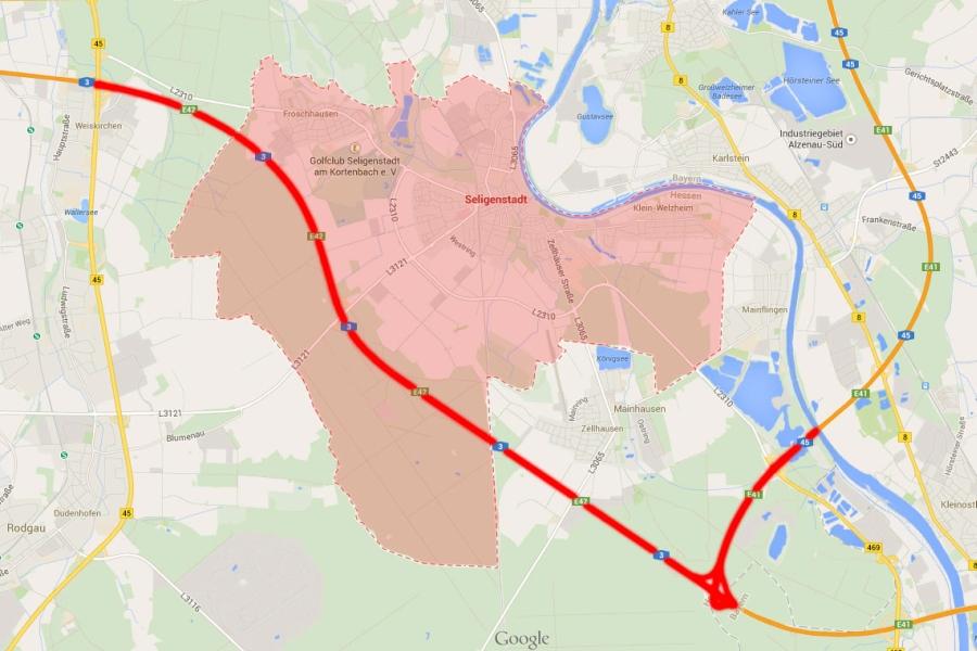 Bild: Einsatzgebiet der Feuerwehr Stadt Seligenstadt (rot Markiert)