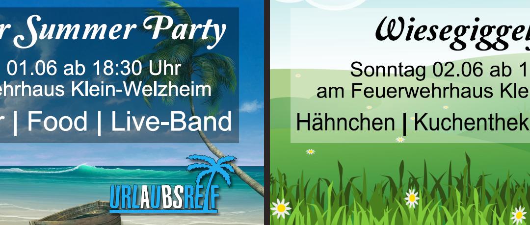 Save the Date: Welzemer Summer Party und Wiesegiggelfest 2019